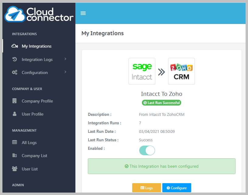 Cloud Connector Platform dashboard